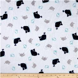 Minky Cuddle Prints Whales Navy