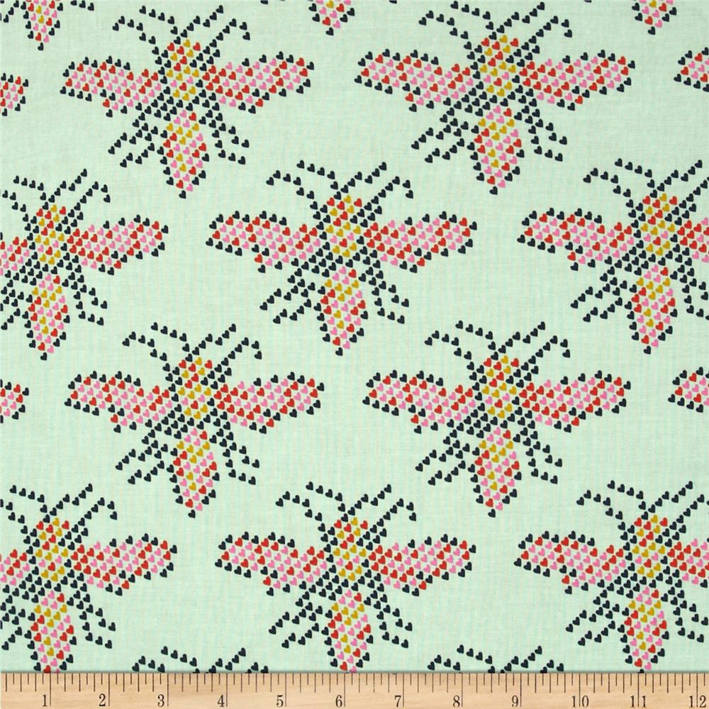 Cotton + Steel Mustang Heart Bees Teal