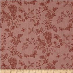 "108"" Wide Quilt Back Floral Butterfly Mauve"