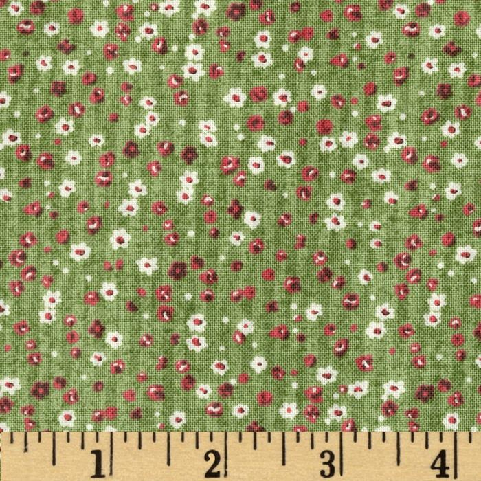 Homeschool Ditsy White/Red Floral Green