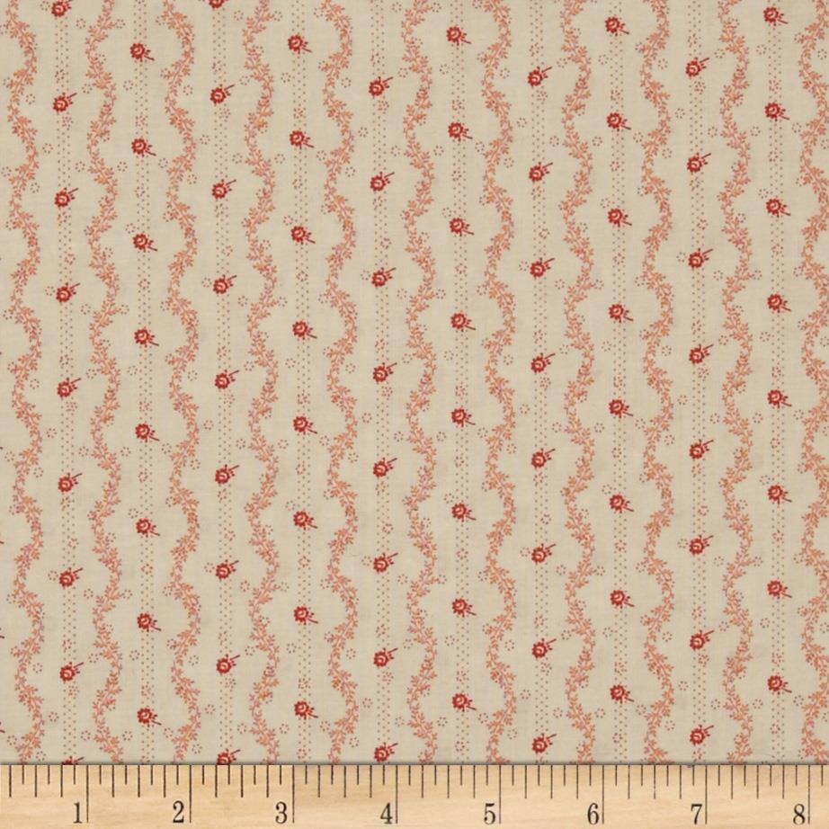Mrs. March's Collection in Antique Ditsy Floral & Vine Stripe Cream/Pink