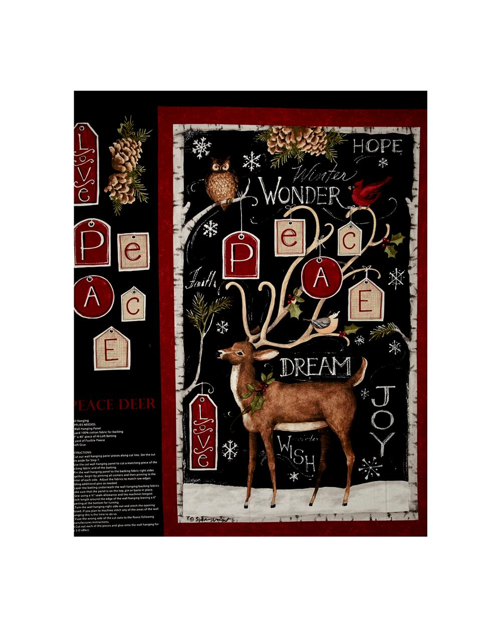 Susan Winget Peace Deer 36 In. Panel Black