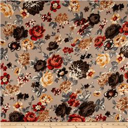 French Designer Rayon Challis Floral Taupe/Orange/Brown
