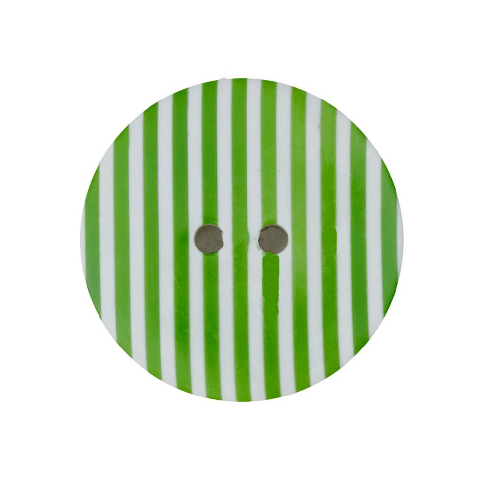 "Dill Novelty Button 1-3/8""  Lime Stripe on White"