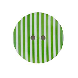 Dill Novelty Button 1-3/8'' Lime Stripe on White