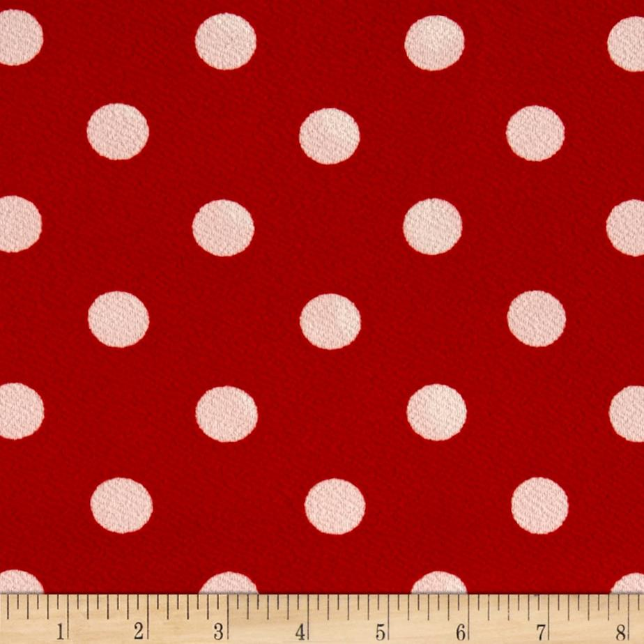Liverpool Double Knit Print Dots Red Ground/White