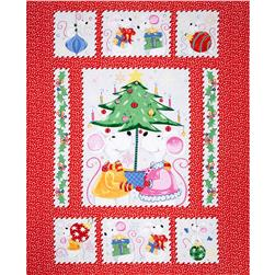 Susybee Christmas Mice Panel Red