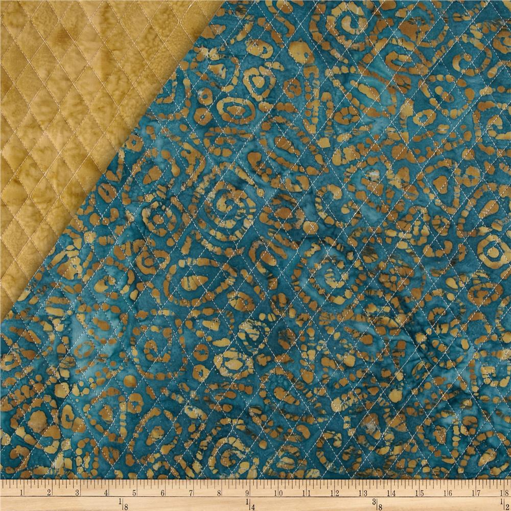 Indian Batik Double Sided Quilted Abstract Paisley Brown/Teal