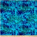 Kaufman Digitally Printed Rayon Challis Mottle Leaf Azure