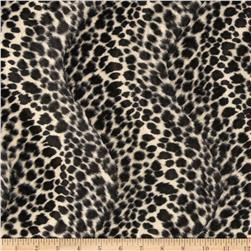 Velboa Faux Fur Leopard Small Ivory/Black Fabric