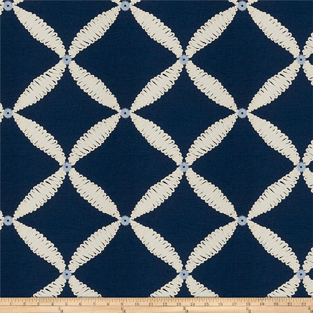 Fabricut Dual Console Embroidered Navy