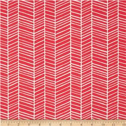 Joel Dewberry Flora Herringbone Poppy Fabric
