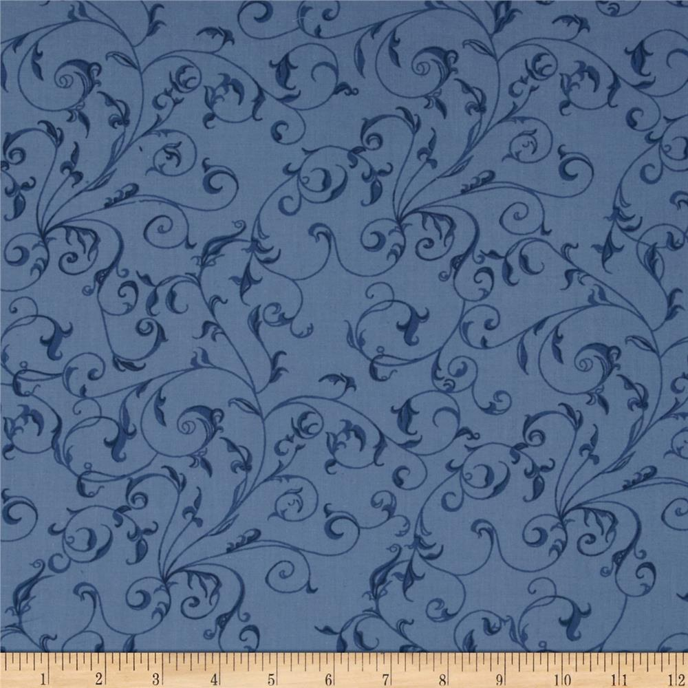 "110"" Wide Quilt Backing Filigree Blue"