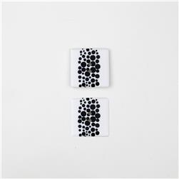 Dill Novelty Button 1'' Black Dot on Square White