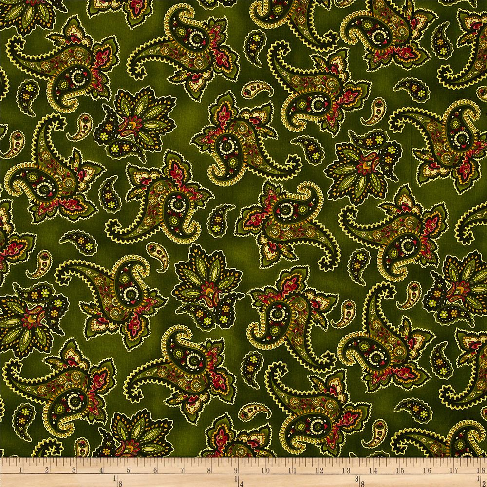 Holiday Opulence Paisley Green