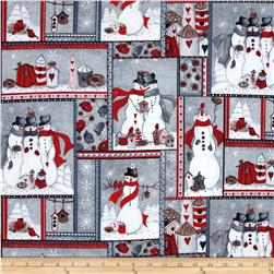 Seasons Greetings Snowman Patch Grey/Red