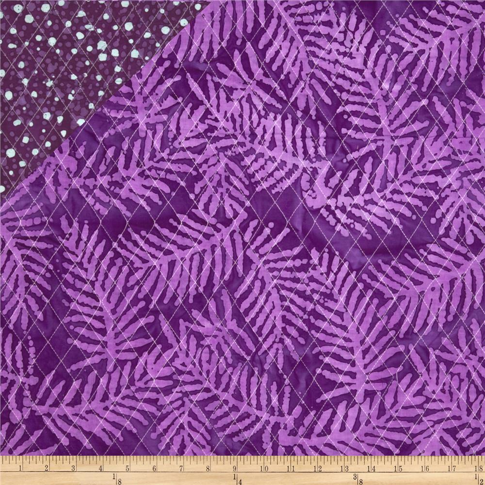 Double Sided Quilted Indian Batik Dot/Leaf Purple/White