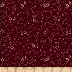 "108"" Wide Back Flower Dot Burgundy"