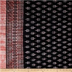 Pleated Bodre Knit Border Print Medallion Black/Rose