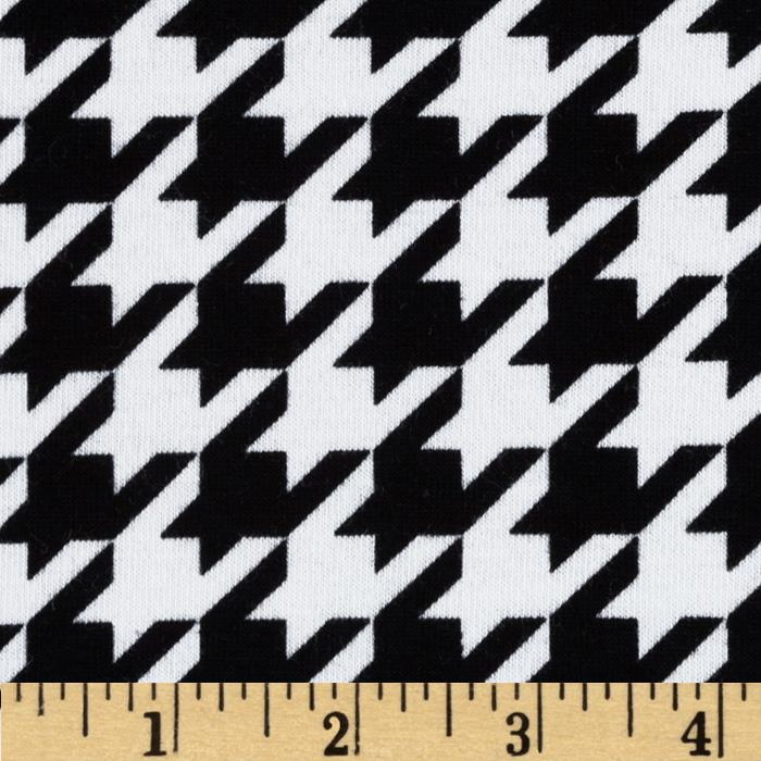 Riley Blake Cotton Jersey Knit Medium Houndstooth Black Fabric By The Yard