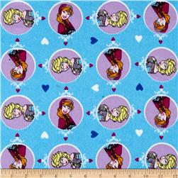 Disney Frozen Heart Toss Flannel Blue