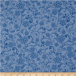 "108"" Wide Quilt Back Floral Swirl Periwinkle"