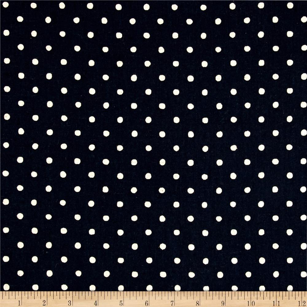 Kaufman Sevenberry Canvas Natural Dots Small Midnight