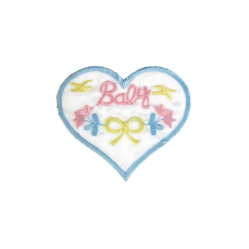 Baby with Heart Applique Blue