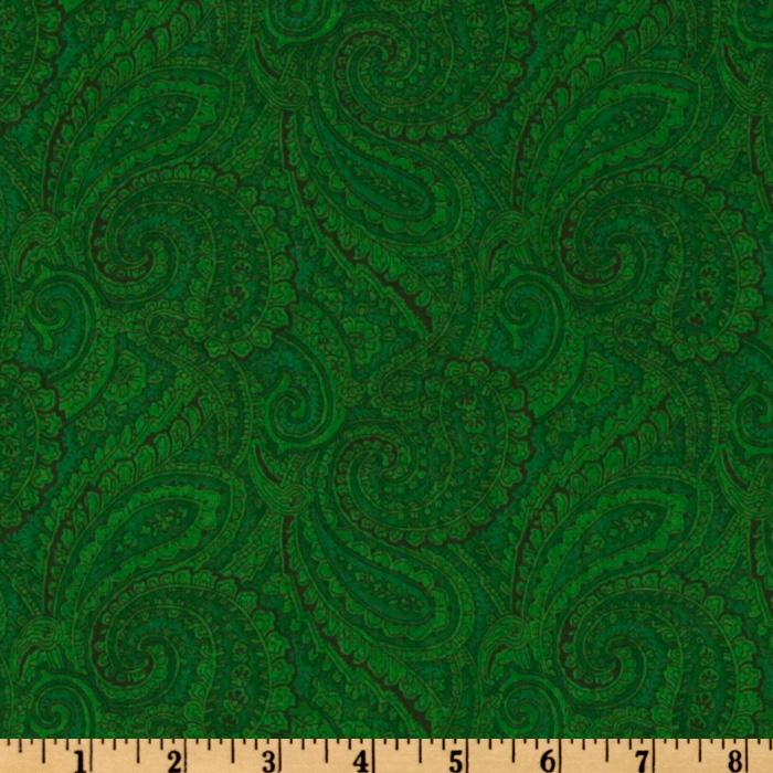 108'' Complementary Quilt Backing Paisley Dark Green