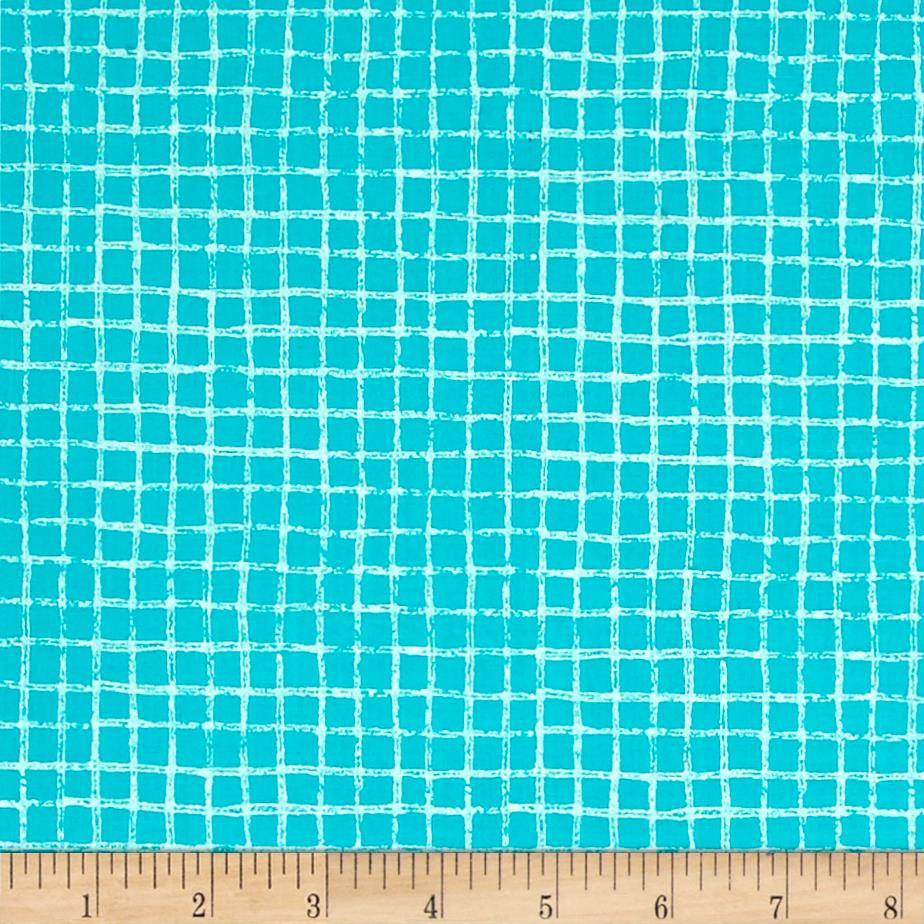 Michael Miller Tweet Me Pretty Grid Turquoise