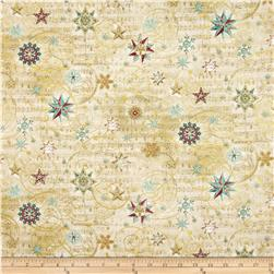 Holiday Shimmer Metallic Stars/Snowflakes Cream/Gold Fabric
