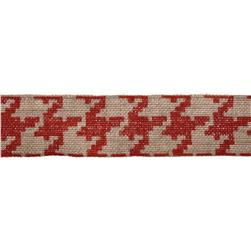 "2 3/8"" Burlap Trim Houndstooth Red"
