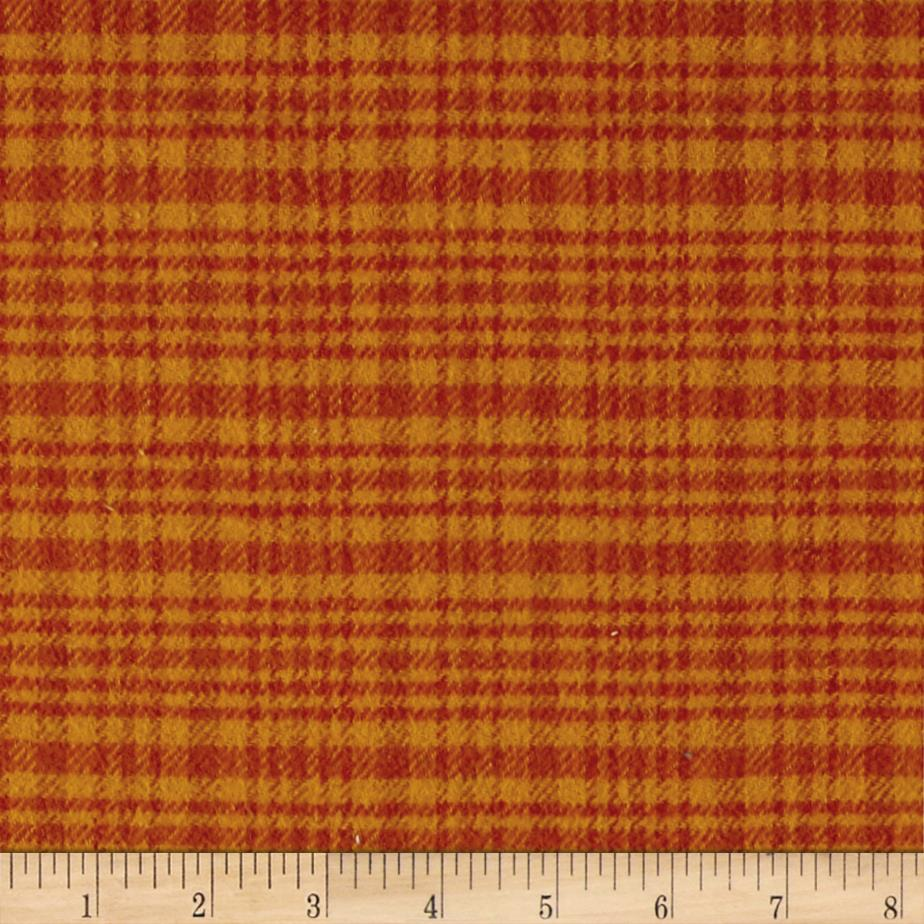 Color Catchers Yarn-Dye Flannel Large Plaid Orange Fabric By The Yard