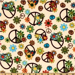Kaufman Minky Cuddle Peace Flower Beige