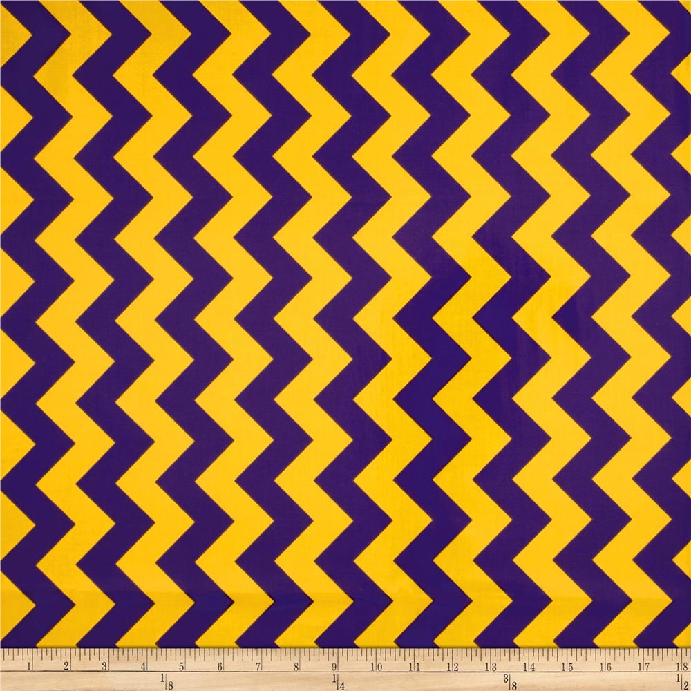 Riley Blake Laminated Cotton Medium Chevron Purple/Gold