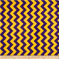Riley Blake Laminated Cotton Medium Chevron Purple/Gold Fabric