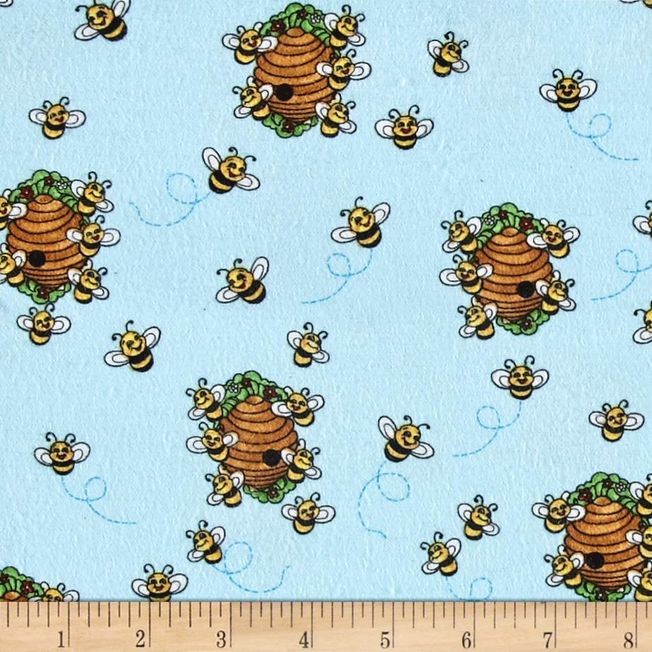 Comfy Flannel Beehives Blue
