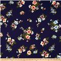 Double Brushed Poly Spandex Jersey Knit Floral Navy/Blue/Orange