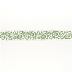 "7/8""French General Ecru Scroll on Green"