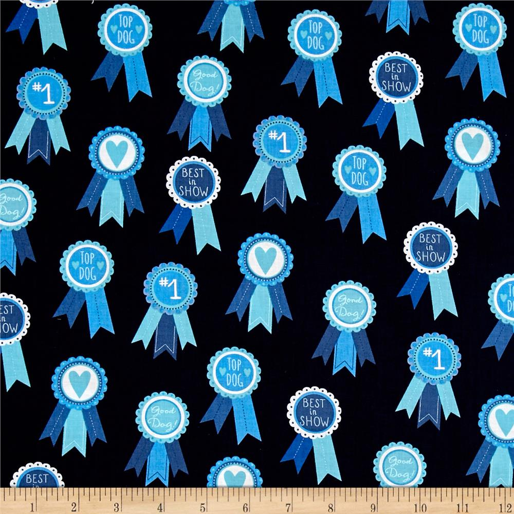 Kaufman classy canines medals blue discount designer for Where to order fabric