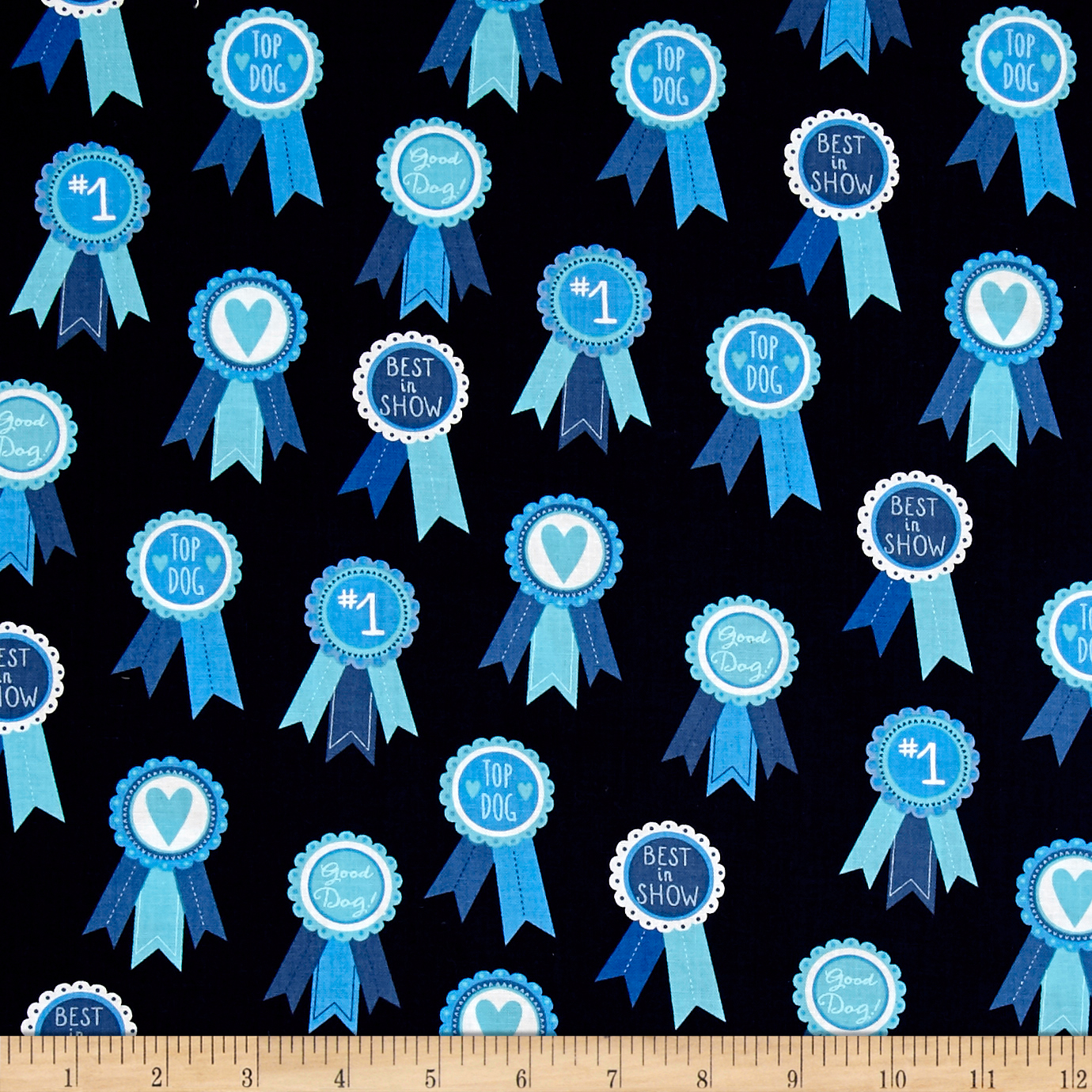 Kaufman Classy Canines Medals Blue Fabric