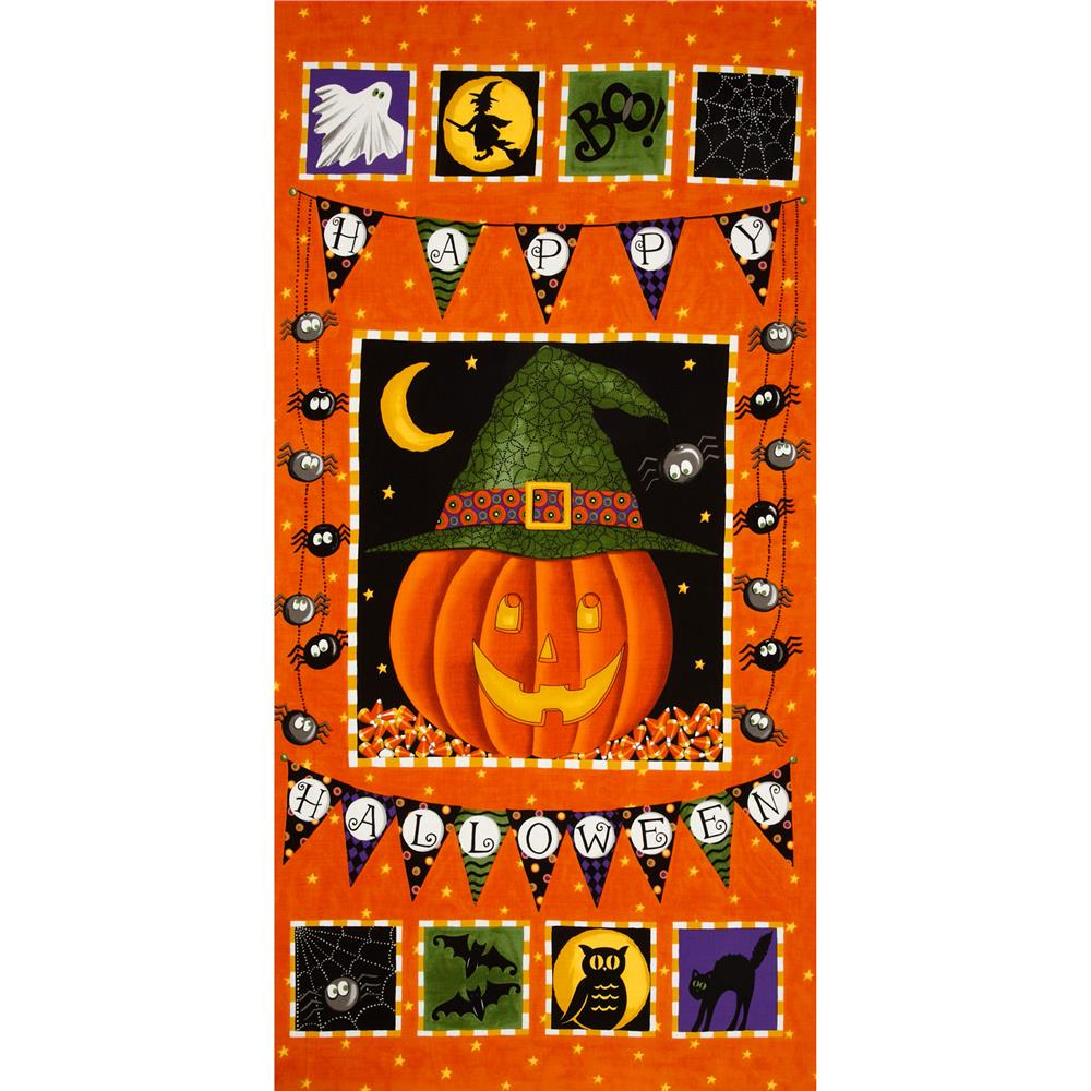 Moda Pumpkin Party Panel Pumpkin Orange