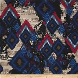 Brazil Stretch ITY Jersey Knit Ikat Blue