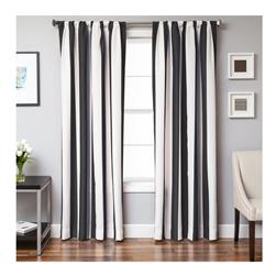 Sunbrella 96'' Rod Pocket Stripe Outdoor Panel Natural/Black