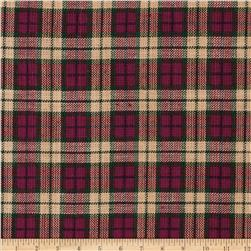 Homespun Basics Plaid Burgundy/Tan/Green Fabric