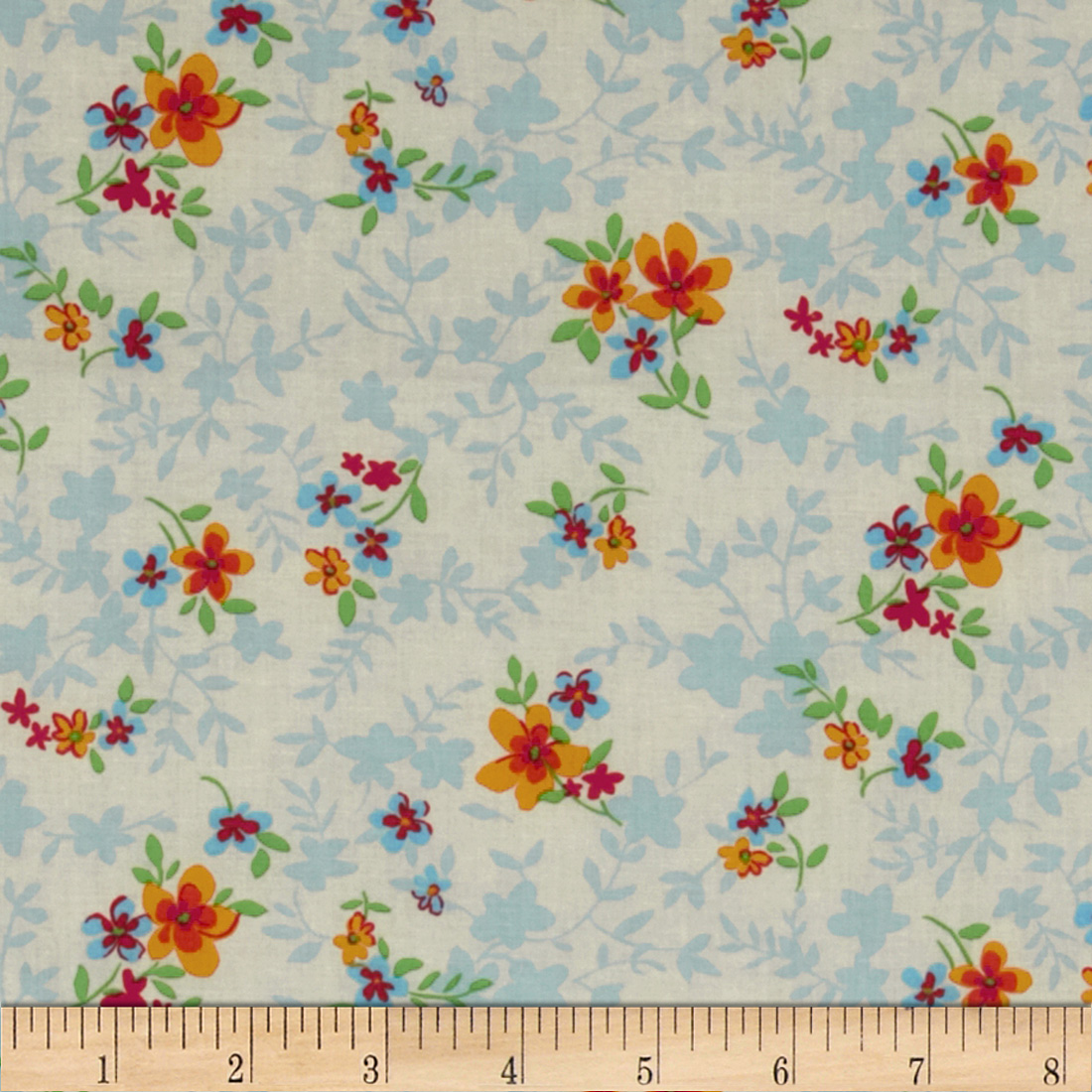 Spring Fling Tossed Floral White/Blue Fabric