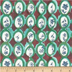 Meadowlark Floral Oval Green
