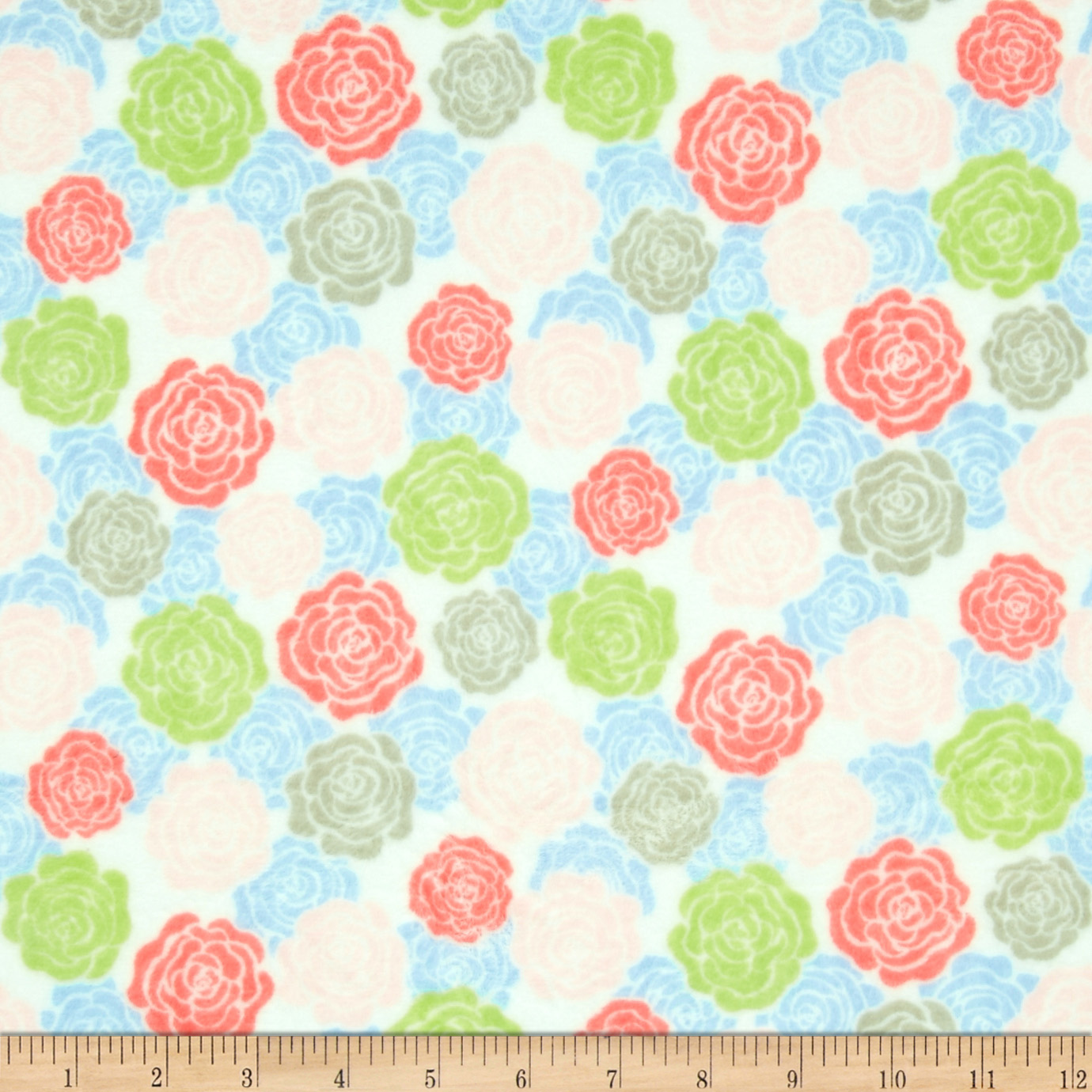 Minky Cuddle Romance Rose Bloom White Fabric
