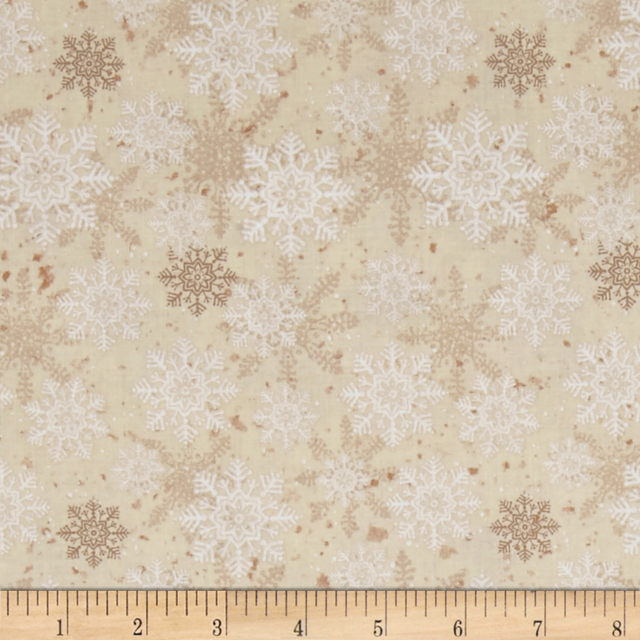 Christmas Wishes Snowflakes Cream Fabric by Clothworks in USA