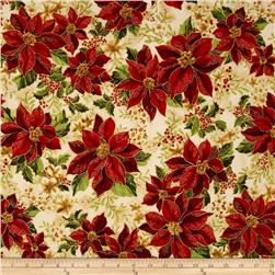 Robert Kaufman Holiday Flourish Metallic Poinsettias Holiday